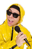 Funny performer with mic isolated on the white — Stockfoto