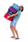 Man travelling with suitcases isolated on white — Stock Photo