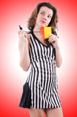 Woman referee with card — Stock Photo