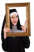 Young nun with frame isolated on white — Fotografia Stock