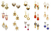 Set of various earrings — Fotografia Stock
