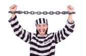 Prison inmate on the white — Stock Photo