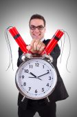Man with time bomb — Stock Photo