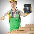 Man with builder and calculator — Stock Photo #65623391