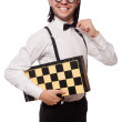 Nerd chess player isolated on white — Stock Photo #65630565
