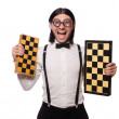 Nerd chess player isolated on white — Stock Photo #65630593