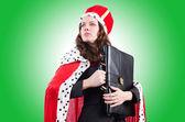 žena královna v zábavný koncept — Stock fotografie