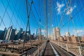 Part of famous Brooklyn bridge on bright day — Stock Photo
