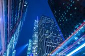Famous skyscrapers of New York at night — Stock Photo