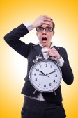 Funny woman with clock — Stock Photo