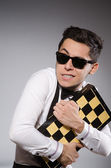Funny chess player with board — Stock Photo