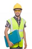 Industrial worker on white — Stock Photo