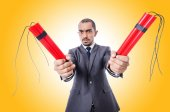 Business man with dynamite — Stock Photo
