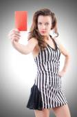Woman judge with red card — Stock Photo