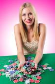 Young Woman in casino — Stock Photo