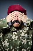 Funny soldier in military — Stock Photo