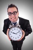 Iş adamı ile masa saati — Stok fotoğraf