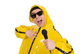 Funny performer with mic — Stock Photo