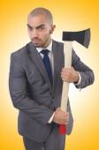 Funny businessman with axe — Stock Photo