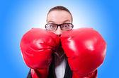 Mulher com luvas de boxe — Fotografia Stock