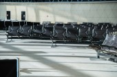 Black Chairs in the airport — Stock Photo