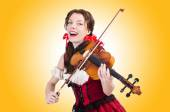 Beautiful Woman with violin — Stock Photo