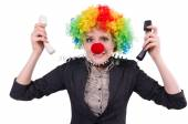 Businessman with clown wig isolated on white — Foto Stock