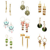 Set of various earrings isolated on white — Fotografia Stock