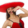 Woman wearing red sombrero isolated on white — Stock Photo #68007973