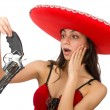 Woman wearing red sombrero isolated on white — Stock Photo #68008703
