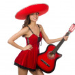 Woman wearing red sombrero isolated on white — Stock Photo #68009327