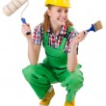 Female foreman with paint brush isolated on white — Stock Photo #68047947