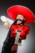 Mexican man wears sombrero isolated on white — ストック写真