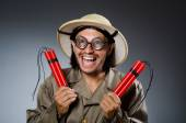 Funny safari hunter — Stockfoto