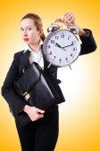 Woman with giant clock — Stock Photo