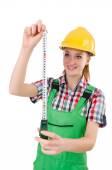 在工作服上白色孤立的女勤杂工 — 图库照片