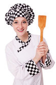 Chef feminino isolado no branco — Fotografia Stock