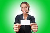 Call center operator with blank — Stock Photo