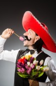 Funny mexican man with sombrero — Stock Photo