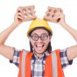 Funny construction worker — Stock Photo #69153559