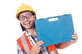 Construction worker with box — Zdjęcie stockowe