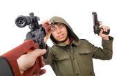 Military man with a guns — Stock Photo