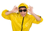 Young performer in yellow suit — Stock Photo