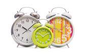 Alarm klokken op wit — Stockfoto