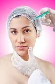 Woman under the plastic surgery — Stock Photo