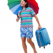 Man with colorful umbrella — Stock Photo #70337647