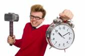 Student with alarm clock isolated on white — Foto Stock