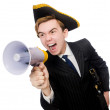 Young man in costume with pirate hat and megaphone isolated on w — Foto Stock #71606325