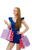 Красивая дама с shoppin сумки — Стоковое фото