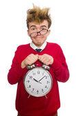 Student with alarm clock — Stock Photo